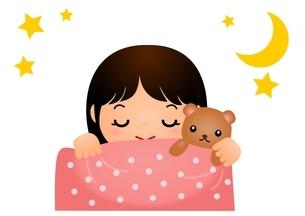 女の子 寝るのイラスト素材 [FYI03439253]