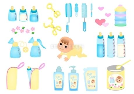 赤ちゃんとミルクのイラスト素材 [FYI03439304]