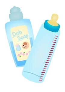 赤ちゃん用洗剤と哺乳瓶のイラスト素材 [FYI03439331]