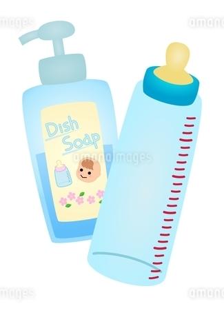 ポンプ型赤ちゃん用洗剤と哺乳瓶のイラスト素材 [FYI03439333]