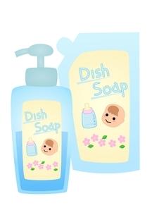 赤ちゃん用食器用洗剤 詰め替えと本体のイラスト素材 [FYI03439334]
