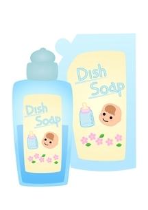 赤ちゃん用食器用洗剤 詰め替えと本体のイラスト素材 [FYI03439335]