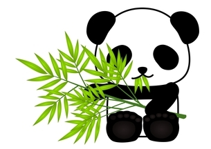 パンダ 笹 食べるのイラスト素材 [FYI03439341]