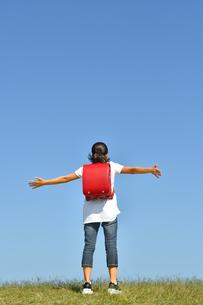 青空で両手を広げる小学生の女の子(後姿)の写真素材 [FYI03439913]