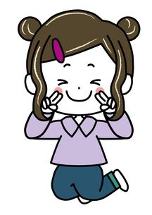 ピースサインの女の子 ポーズ イラストのイラスト素材 [FYI03440340]