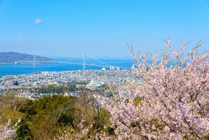 須磨浦山上より明石海峡大橋を望むの写真素材 [FYI03440521]