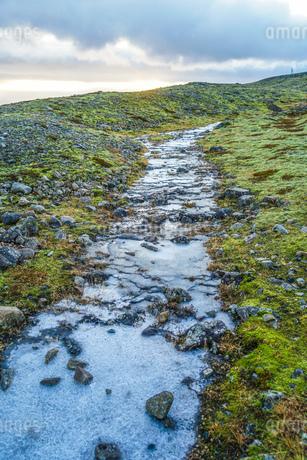 アイスランド・フィヤトルスアゥルロゥン湖の小川の写真素材 [FYI03440759]