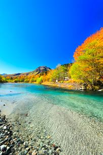 快晴の上高地 梓川の清流と焼岳に紅葉の写真素材 [FYI03440777]