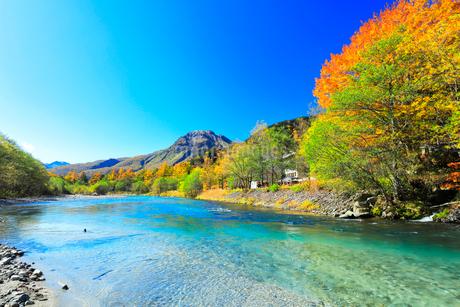 快晴の上高地 梓川の清流と焼岳に紅葉の写真素材 [FYI03440778]