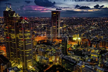 東京都庁の展望台から見える新宿の都市風景と夕景の写真素材 [FYI03440787]