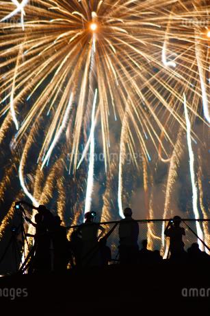 花火と人々のシルエットの写真素材 [FYI03440796]