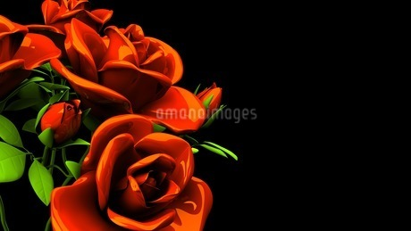 Red Roses Bouquet On Black Text Spaceのイラスト素材 [FYI03440973]