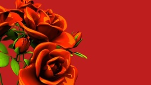 Red roses  bouquet on red text spaceのイラスト素材 [FYI03440977]