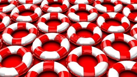 Red swim rings on red backgroundのイラスト素材 [FYI03440986]
