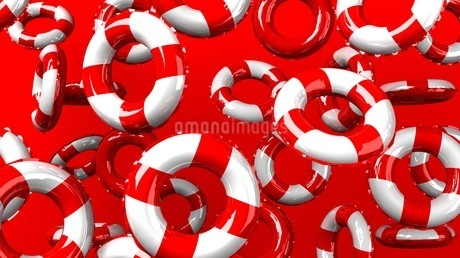 Red swim rings on red backgroundのイラスト素材 [FYI03440987]