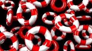 Red swim rings on black backgroundのイラスト素材 [FYI03440988]