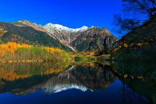 快晴の上高地 大正池にカモと冠雪の穂高連峰に紅葉の写真素材 [FYI03441368]