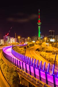 ニュージーランド オークランド サイクリングロードとスカイタワーの写真素材 [FYI03441474]