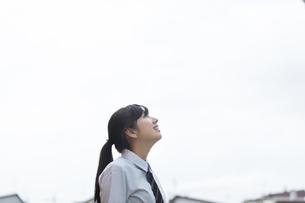 空を見上げる女子学生の横顔の写真素材 [FYI03441527]
