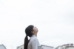 空を見上げる女子学生の横顔の写真素材 [FYI03441528]