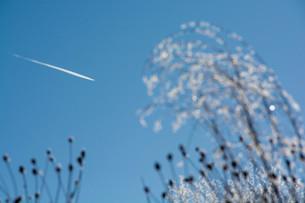 冬の寒い朝の飛行機雲の写真素材 [FYI03443442]