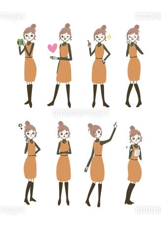 働くおしゃれ女子シリーズ / サインポーズのイラスト素材 [FYI03443458]