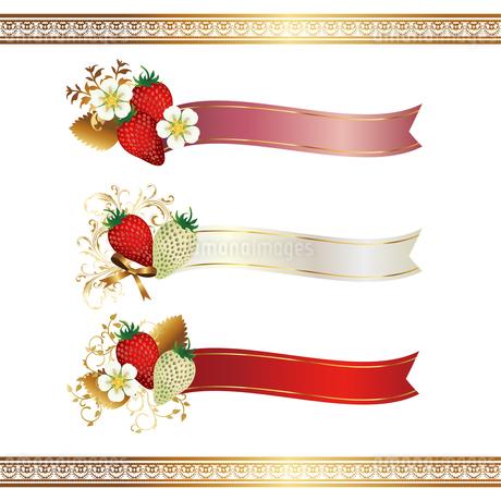苺 リボン 背景 セットのイラスト素材 [FYI03444008]
