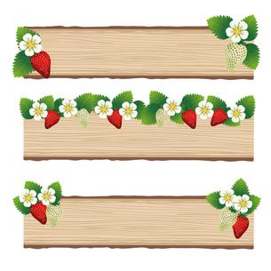 苺 木目 背景 セットのイラスト素材 [FYI03444010]