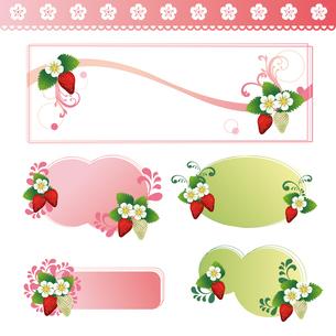 苺 背景 装飾 セットのイラスト素材 [FYI03444012]