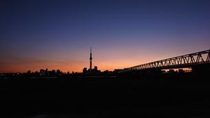 夕日の東京スカイツリーと京成高架橋の写真素材 [FYI03444338]