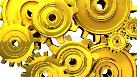 Gold Gears On White Backgroundのイラスト素材 [FYI03444341]