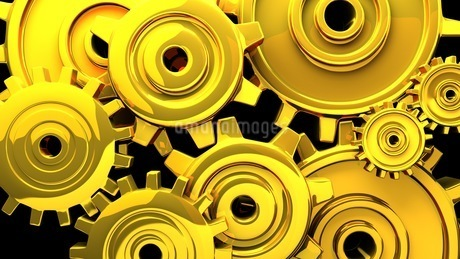 Gold Gears On Black Backgroundのイラスト素材 [FYI03444342]