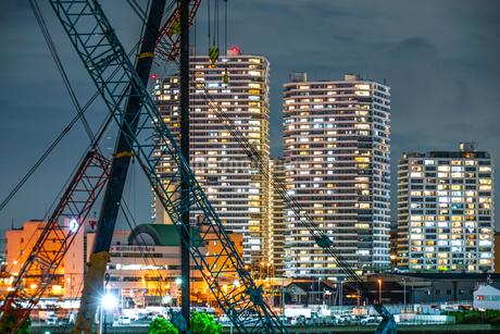 横浜・みなとみらいの工事現場の写真素材 [FYI03444701]