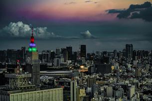 東京都庁の展望台から見える新宿の都市風景と夕景の写真素材 [FYI03445584]