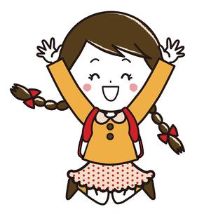 ランドセル ジャンプする女の子 ポーズ イラストのイラスト素材 [FYI03445650]