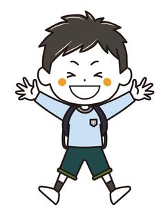 ランドセル ジャンプする男の子 ポーズ イラストのイラスト素材 [FYI03445652]