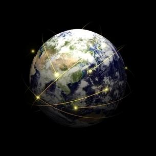 地球と通信(アジア大陸編)のイラスト素材 [FYI03445753]