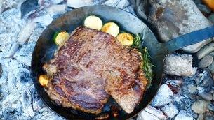 焦げ目の付いた肉の塊の香草焼きの写真素材 [FYI03445792]