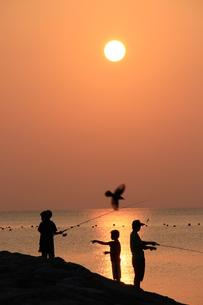 海辺の夕日の写真素材 [FYI03445903]
