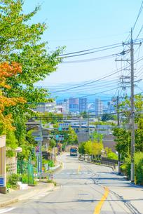 芦屋市高台からの坂道と海が見える街並みの写真素材 [FYI03446021]