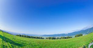 北海道 自然 風景 パノラマ 城岱牧場より函館市街遠望  (魚眼)の写真素材 [FYI03446448]