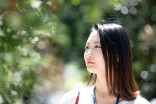 遠くを見ている女性の写真素材 [FYI03446646]