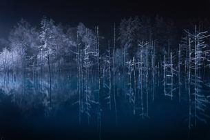 夜の青い池の写真素材 [FYI03446713]