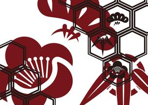 松竹梅をモチーフにした和柄背景素材のイラスト素材 [FYI03447228]