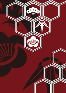 松竹梅をモチーフにした和柄背景素材のイラスト素材 [FYI03447231]