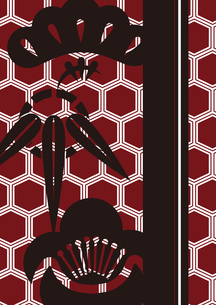 松竹梅をモチーフにした和柄背景素材のイラスト素材 [FYI03447237]