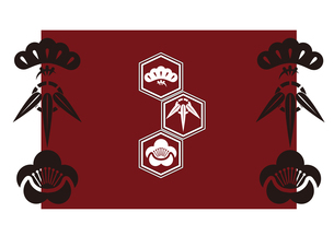 松竹梅をモチーフにした和柄背景素材のイラスト素材 [FYI03447239]