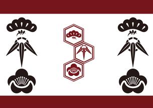 松竹梅をモチーフにした和柄背景素材のイラスト素材 [FYI03447241]