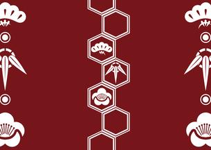 松竹梅をモチーフにした和柄背景素材のイラスト素材 [FYI03447245]