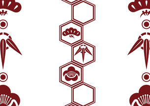 松竹梅をモチーフにした和柄背景素材のイラスト素材 [FYI03447249]